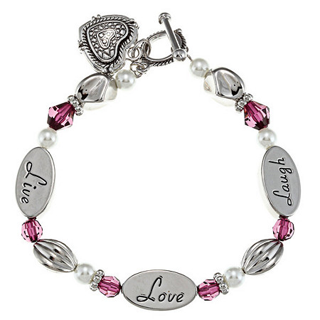 Purple Crystal and Simulated Pearl Inspirational Heart Charm Bracelet in Silvertone