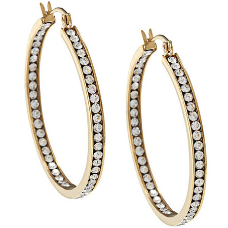 Crystal Channel Inside-Out Hoop Pierced Earrings in 14k Gold-Plated