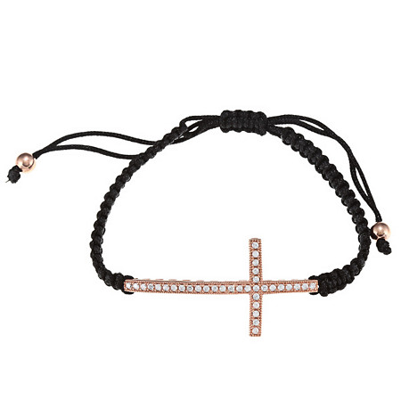 .27 CTW Cubic Zirconia Horizontal Cross Macrame Bracelet in 14k Rose Gold-Plated