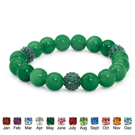 Jade and Crystal Accent Bead Birthstone Stretch Bracelet 8