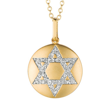 Diamond Accent Star of David Disk Pendant in 14k Yellow Gold over Sterling Silver