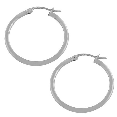 14k White Gold Hoop Pierced Earrings