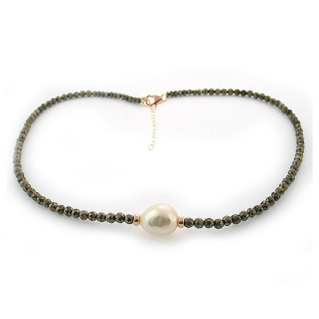 Cultured Pearl and Pyrite Necklace in Sterling Silver with a Golden Finish