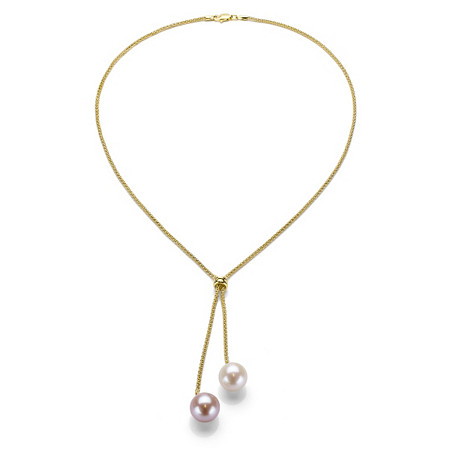 White and Gold Cultured Freshwater Pearl Lariat-Style Necklace in Sterling Silver with Golden Finish