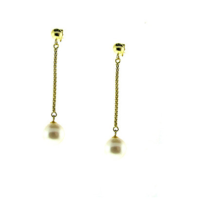 Cultured Freshwater Pearl Earrings in14k Gold over Sterling Silver