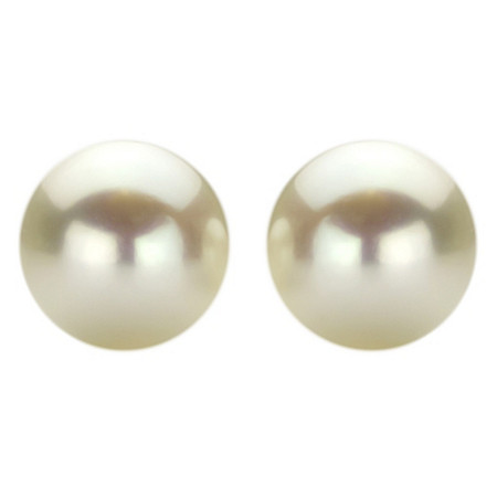 White Cultured Freshwater Pearl Stud Pierced Earrings in Sterling Silver