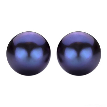 Black Cultured Freshwater Pearl Stud Pierced Earrings in Sterling Silver