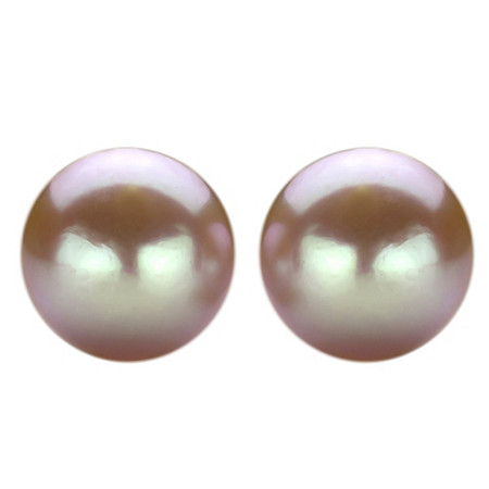 Pink Cultured Freshwater Pearl Stud Pierced Earrings in Sterling Silver