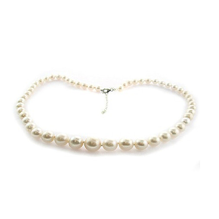 White Cultured Freshwater Pearl Necklace in Sterling Silver 9mm