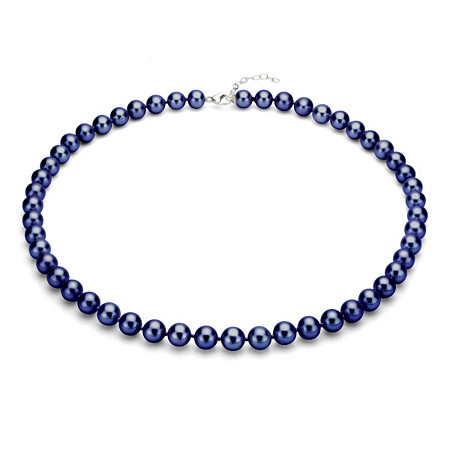 Black Cultured Freshwater Pearl Necklace in Sterling Silver 9mm