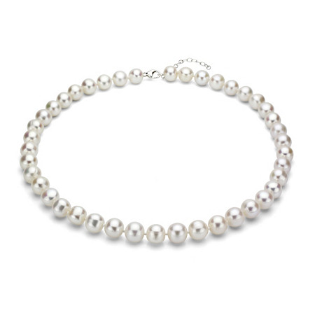 White Cultured Freshwater Pearl Necklace in Sterling Silver 11mm