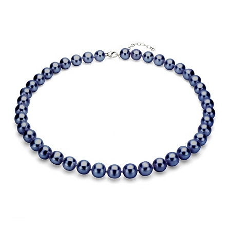 Black Cultured Freshwater Pearl Necklace in Sterling Silver 11mm