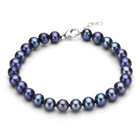 Black Cultured Freshwater Pearl Bracelet in Sterling Silver 7mm