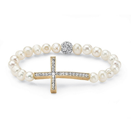 Genuine Cultured Pearl and Crystal Horizontal Cross Stretch Bracelet in Yellow Gold Tone 8
