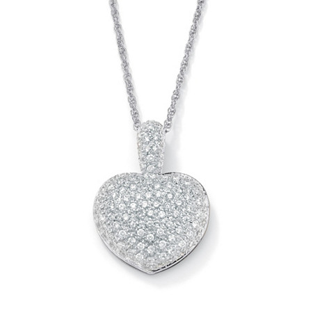 2.50 TCW Cubic Zirconia Heart-Shaped Pendant and Chain Platinum-Plated 18