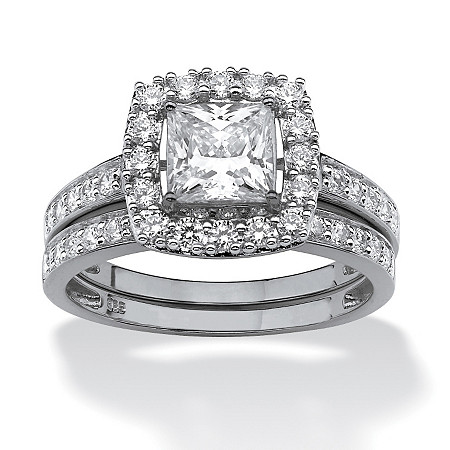1.93 TCW Princess-Cut Cubic Zirconia Bridal Ring Wedding Band Set in Platinum over Sterling Silver