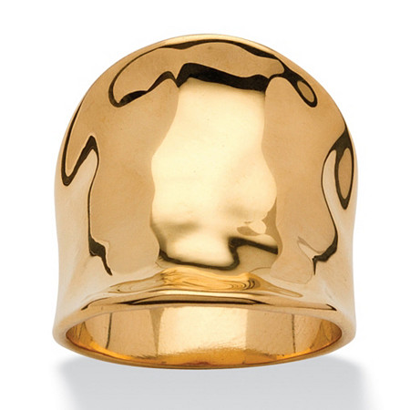 Concave Cigar Band Ring 18k Gold Plated