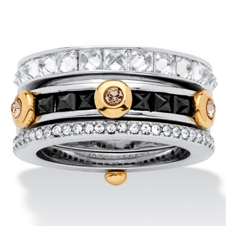 3.69 TCW Princess-Cut Cubic Zirconia and Crystal Rings in Silvertone and Yellow Gold Tone