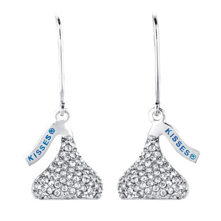Crystal Hershey's Kiss Earrings in Silvertone