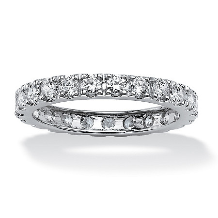 2.40 TCW Round Cubic Zirconia Eternity Band in 10k White Gold