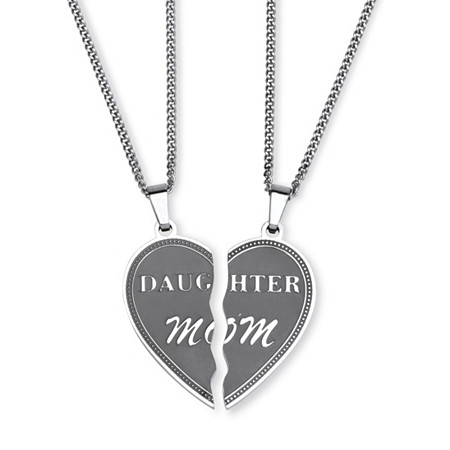 Heart Breakaway Daughter Mom Breakaway Pendants with Chains in Stainless Steel
