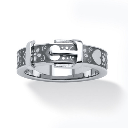 Hearts and Flowers Buckle Ring in Stainless Steel