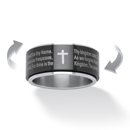 Lord's Prayer Spinner Ring in Stainless and Black IP Stainless Steel