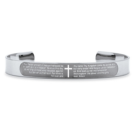 Lord's Prayer Cuff Bracelet in Stainless Steel