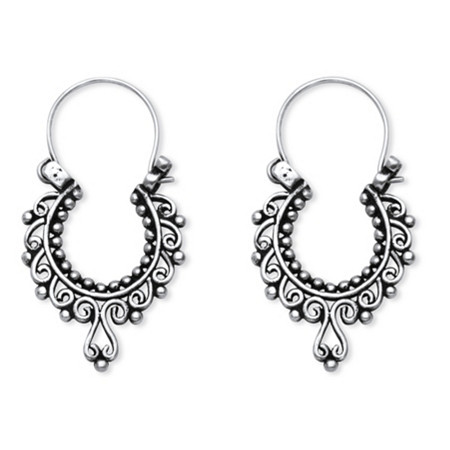 Openwork Scroll Earrings in Sterling Silver