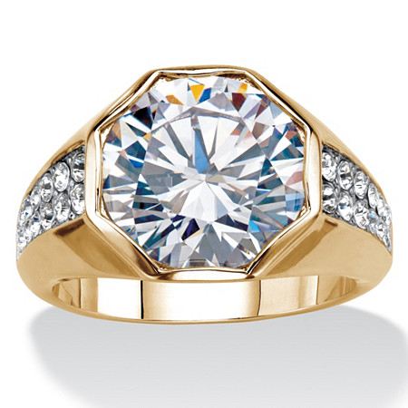 Men's 6 Carat Round Cubic Zircona Octagon Ring 14K Gold-Plated