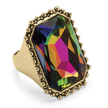Emerald-Cut Aurora Borealis Cocktail Ring in 14k Gold-Plated