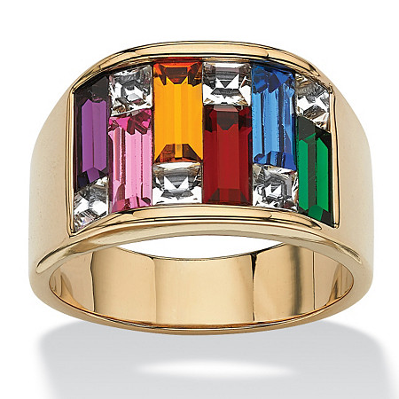 Multi-Colored Crystal Baguette Ring in 14k Gold-Plated