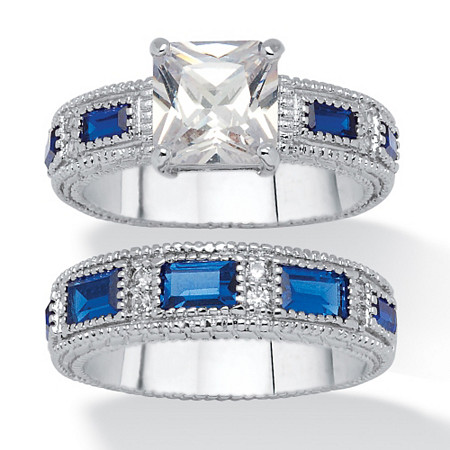 2.42 TCW Round Cubic Zirconia and Blue Crystal Bridal Set Platinum Plated