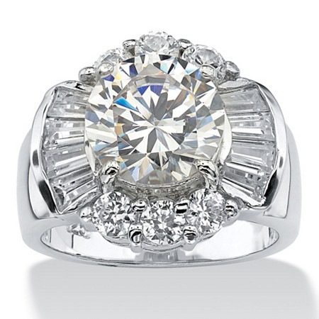 7.15 TCW Round Cubic Zirconia Engagement/Anniversary Ring in Platinum over Sterling Silver
