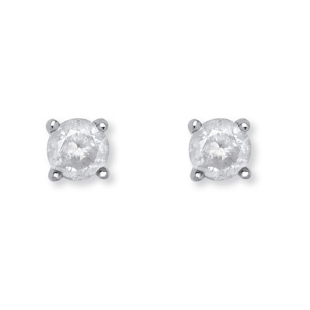 1/5 TCW Diamond Stud Earrings in Sterling Silver