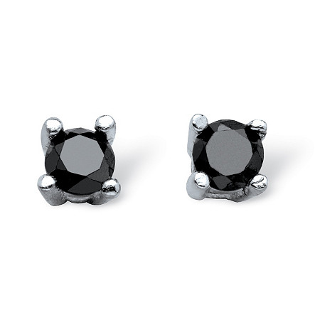 1/10 TCW Black Diamond Stud Earrings in Sterling Silver