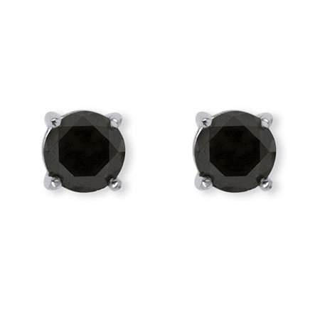 1 TCW Black Diamond Stud Earrings in Sterling Silver