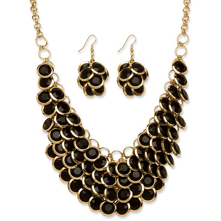 2 Piece Black Bib Necklace and Cluster Earrings Set in Yellow Gold Tone