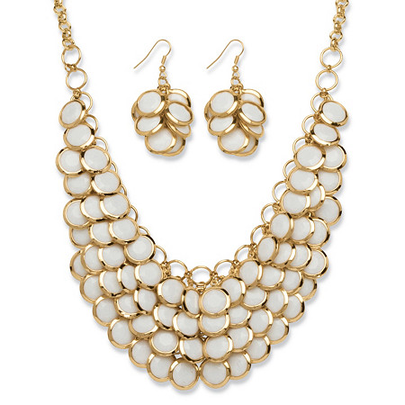 2 Piece White Bib Necklace and Cluster Earrings Set in Yellow Gold Tone