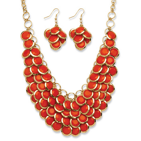 2 Piece Orange Bib Necklace and Cluster Earrings Set in Yellow Gold Tone