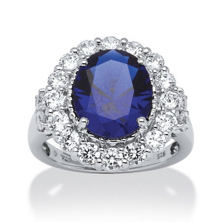 7.39 TCW Oval-Cut Sapphire and Round Cubic Zirconia Ring in Platinum over Sterling Silver