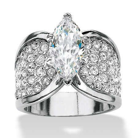 4.59 TCW Marquise-Cut and Pave Cubic Zirconia Engagement/Anniversary Ring Platinum-Plated