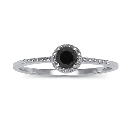 1/5 TCW Black Diamond Ring in Sterling Silver