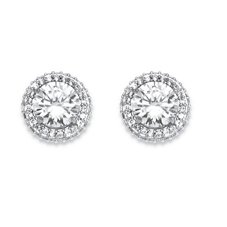 4.91 TCW Cubic Zirconia Stud Earrings Platinum Plated