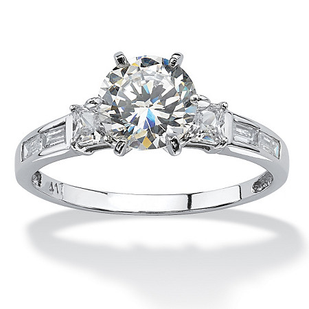 2.14 TCW Round Cubic Zirconia and Baguette Accents Ring in 10k White Gold