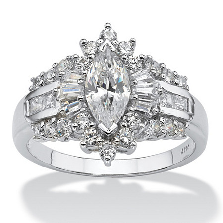 2.19 TCW Marquise-Cut Cubic Zirconia With Round and Baguette Accents Ring in 10k White Gold