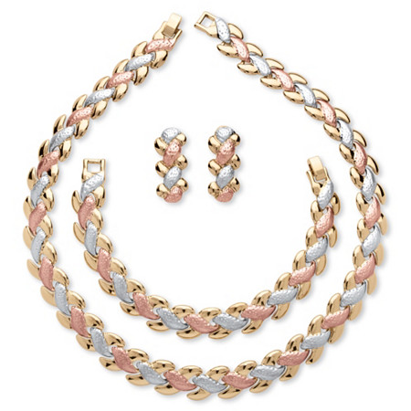 3 Piece Jewelry Set Includes Link Necklace, Bracelet and Earrings in Tri-Tone