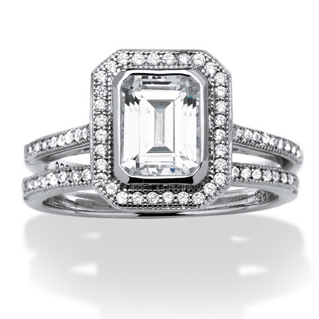 2 Piece Set 1.76 TCW Emerald-Cut Cubic Zirconia Bridal Ring in Platinum over Sterling Silver
