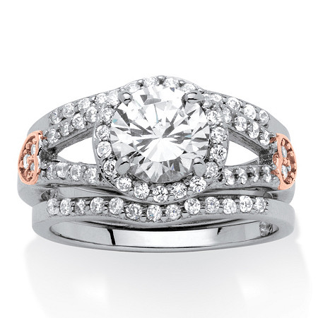 3 Piece 1.93 TCW Round Cubic Zirconia and Pink CZ Bridal Set in Platinum over Sterling Silver