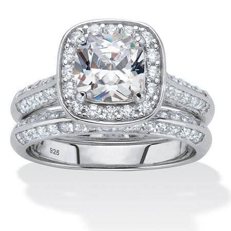 2 Piece 2.08 TCW Cushion-Cut Cubic Zirconia Bridal Ring Set in Platinum over Sterling Silver